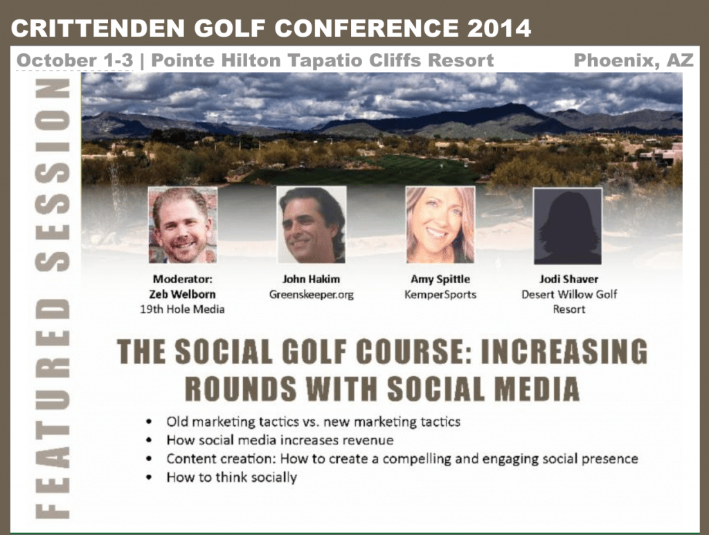Zeb Welborn to speak with Amy Spittle, John Hakim, and Jodi Shaver on The Social Golf Course at the Crittenden Golf Conference in Phoenix, AZ