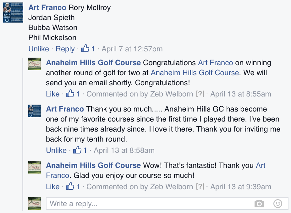 Facebook Golf Marketing