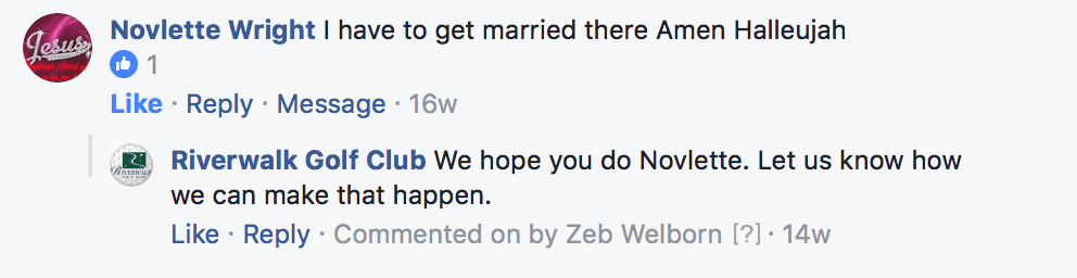 I have to get married there Facebook comment for golf course weddings