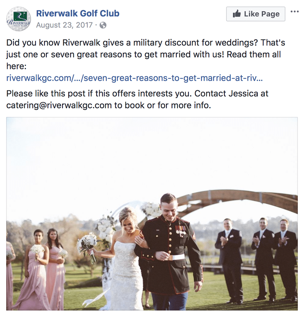 Golf Course Wedding Promotion on Social Media