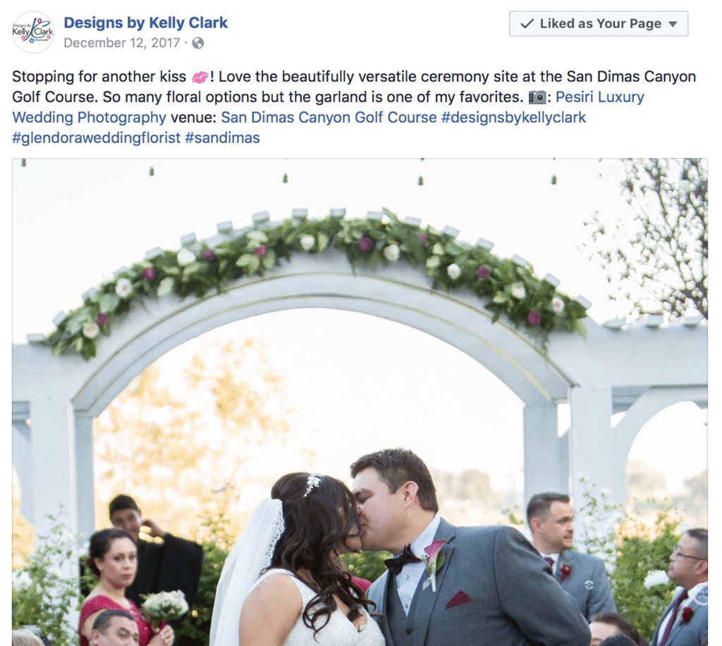 Sharing Wedding Vendor Posts on Golf Course Social Media Pages